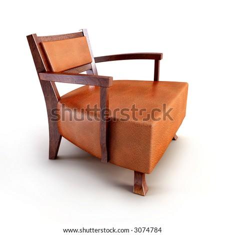 classic asian armchair 3d rendering
