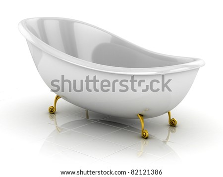 classic bathtub isolated on the white - stock photo