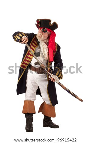 Classic bearded pirate captain drawing sword in threatening pose. Vertical layout, isolated on white background with copy space.