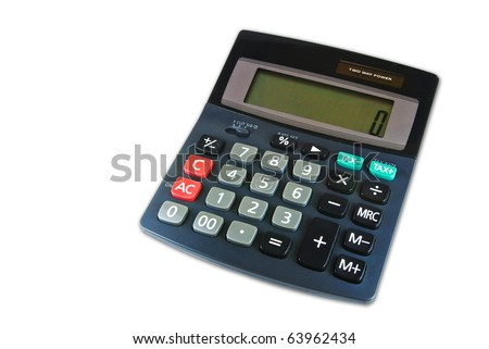 classic black calculator office stationery supply isolated on white background