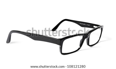 Classic black eye glasses isolated on white background
