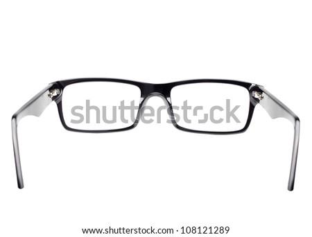Classic black frame eye glasses seen from back view
