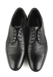 Classic black leather mens shoes with laces isolated on white background top view