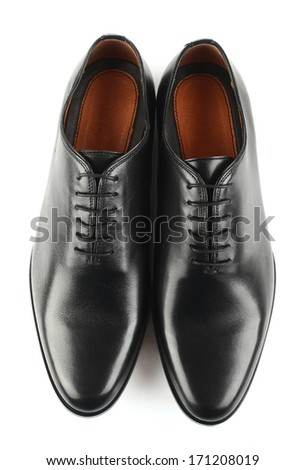 Classic black leather mens shoes with laces isolated on white background top view #171208019