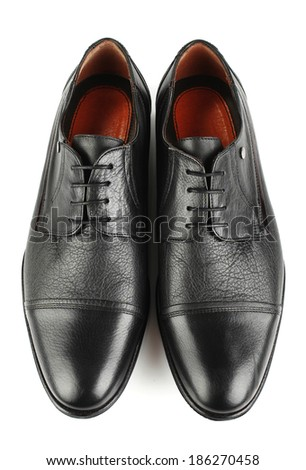Classic black leather mens shoes with laces isolated on white background top view #186270458