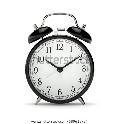 Classic black table clock isolated on a white background. 3d render illustration