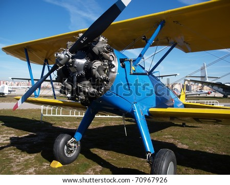 classic blue biplane