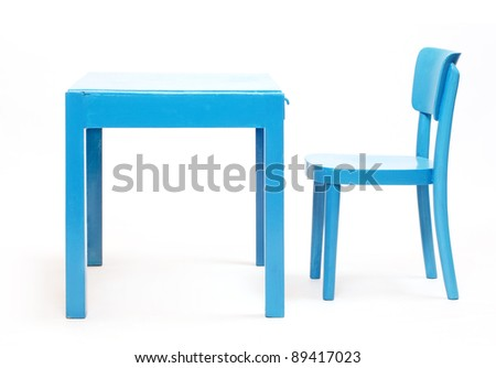 Classic blue chair and table - school desk on a white background.