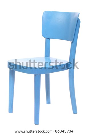 Classic blue chair on a white background.