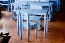 Classic blue chairs and tables