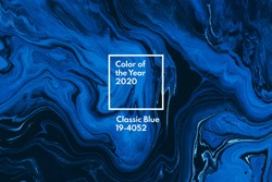 Classic blue color of the year 2020. Bright blue and white marble background. Liquid stripy minimalistic trendy paint texture. Abstract fluid art. Acrylic and oil flow modern creative backdrop