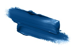 Classic blue lipstick smear smudge isolated on white background. Trendy color makeup swatch