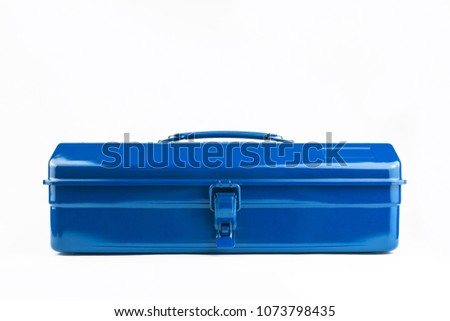 Classic blue metal toolbox shot straight on in a white studio.