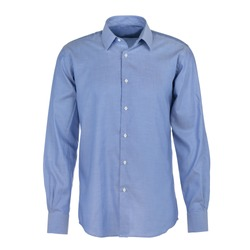 classic blue shirt on a white background. macro photo. Clothing for a businessman. cotton men's shirt close-up