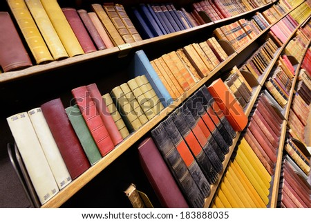 Classic books in library - stock photo