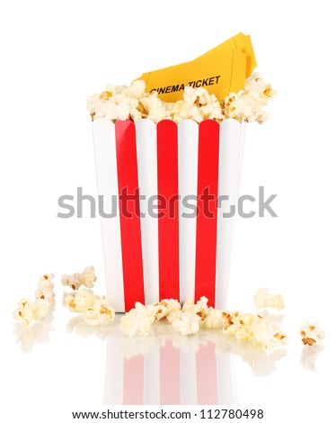 classic box of popcorn and cinema tickets isolated on white