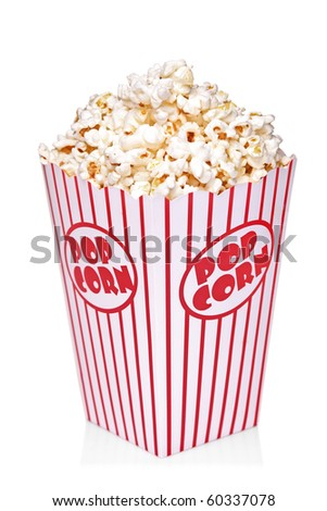 Classic box of red and white popcorn box isolated against white background