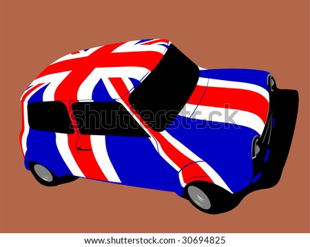 classic british mini car with flag of uk / great britain