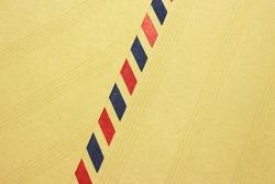 Classic brown air mail envelope stripes