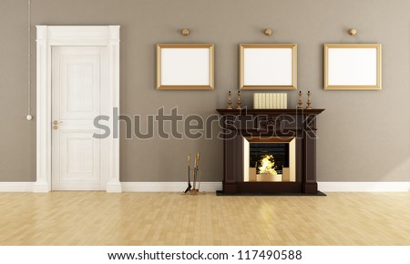 Classic brown fireplace in a vintage living room with wooden  doors - rendering