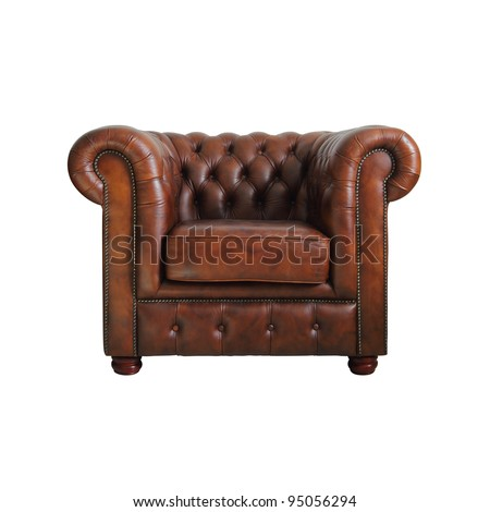 Classic Brown leather armchair isolated on white background with clipping path.