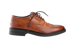 Classic brown men's oxfords shoes, with Derby type lacing, isolated on a white background, casual shoes for office.