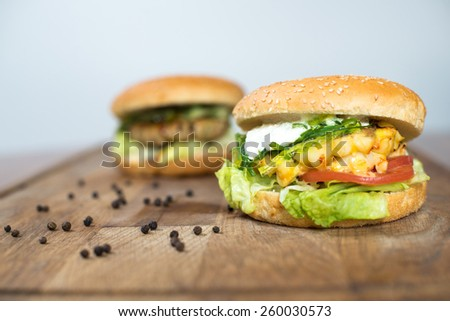 Classic Burger. Tasty and fastfood burger meal on the table