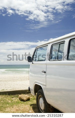 Classic camper van parked by the coast, Brazil