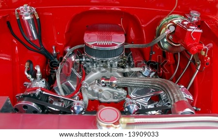 classic car engine at car show