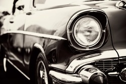 Classic car with close-up on headlights