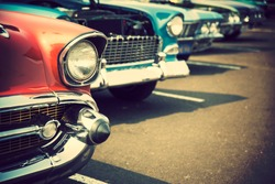 Classic cars in a row