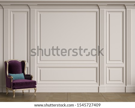Classic chair in classic interior with copy space.White walls with ornated mouldings and classic cornice.Classic door.Floor parquet.Digital Illustration.3d rendering