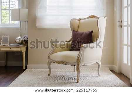 classic chair style on carpet in bedroom at home