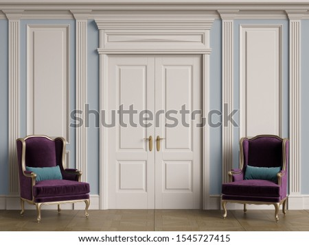 Classic chairs in classic interior with copy space.White walls with ornated mouldings and classic cornice.Classic door.Floor parquet.Digital Illustration.3d rendering