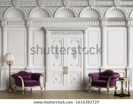 Classic chairs in luxury interior with copy space.White walls with ornated mouldings and classic cornice.Classic door.Floor parquet.Digital Illustration.3d rendering