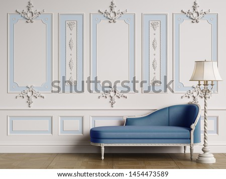 Classic chaise longue in classic interior with copy space.Walls with ornated mouldings.Digital Illustration.3d rendering