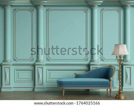 Classic chaise longue in classic interior with copy space.Walls with ornated mouldings.Floor parquet.Digital Illustration.3d rendering Foto stock ©