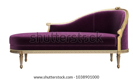 Classic chaise longue isolated on white background.Digital illustration.3d rendering Foto stock ©