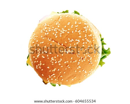 Classic cheeseburger isolated on white background. Top view.
