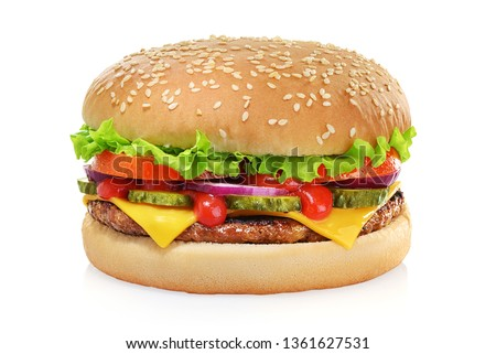 Classic cheeseburger with beef patty, pickles, cheese, tomato, onion, lettuce and ketchup mustard isolated on white background.