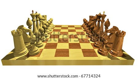 Classic Chess set.  Side view. Silence before the battle.