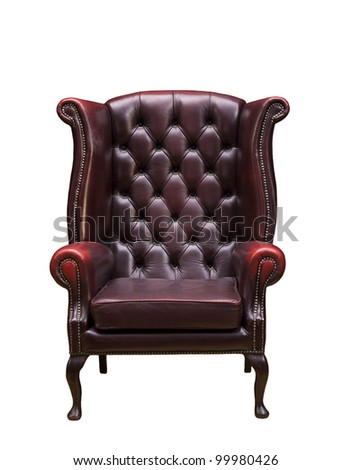 Classic Chesterfield luxury armchair  with clipping path isolated on white