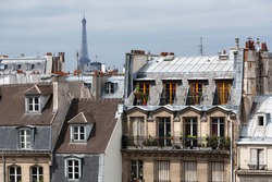 Classic cityscape of Paris buidings with Eiffel Tower in the background
