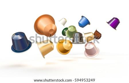 classic coffee capsule 3d rendering image #594953249