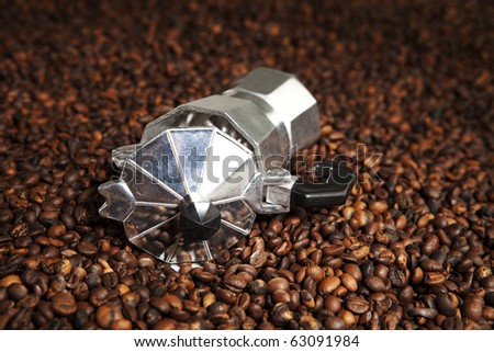 classic coffee machine in coffee beans