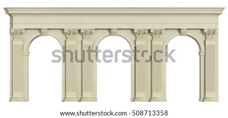 Classic colonnade with arch and corinthian column isolated on white - 3d rendering