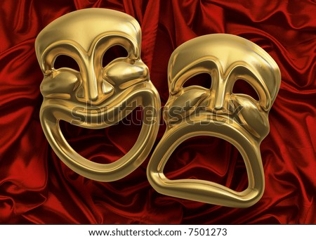 theatre mask clipart. theater masks against red