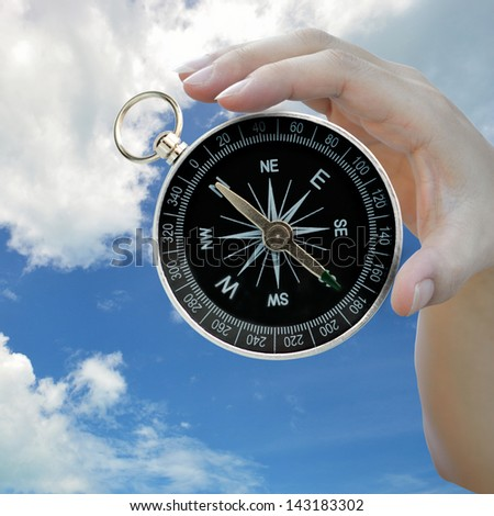 Classic compass in lady hand on sky background.