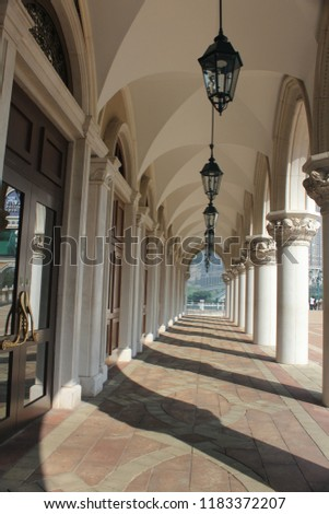 classic corridor with gothic styles of column #1183372207