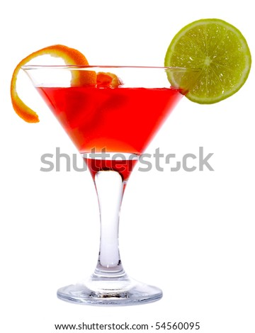 Classic Cosmopolitan Cocktail isolated on white